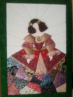 Patchwork inspired by Velasquez's work: Infanta Maria Theresa Applique Designs, Quilting Designs, Doll Crafts, Sewing Crafts, Crazy Patchwork, School Art Projects, Art Journal Inspiration, Fabric Art, Paper Piecing