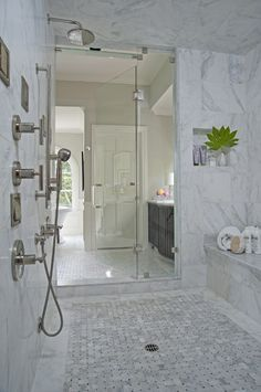 Master Bath Shower Design - Design photos, ideas and inspiration. Amazing gallery of interior design and decorating ideas of Master Bath Shower Design in bathrooms by elite interior designers. Dream Bathrooms, Beautiful Bathrooms, Small Bathroom, Master Bathrooms, Bathroom Ideas, Bathroom Designs, Master Shower, Shower Ideas, Royal Bathroom