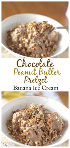 This is the best way to eat banana ice cream! You would never know that this Chocolate Peanut Butter Pretzel Banana Ice Cream was healthy!!! #healthy #vegan #glutenfree