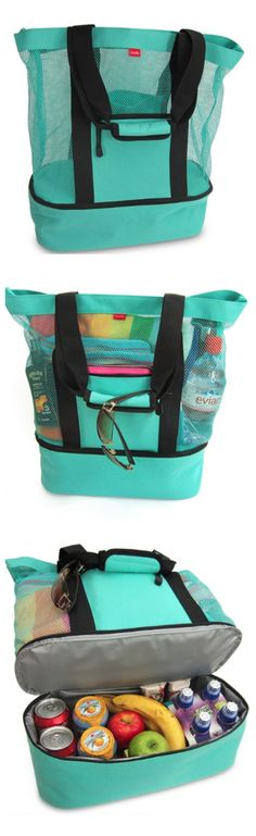Umm... what?! BEST BEACH BAG EVER! Mesh tote to keep the sand out and carry your towel, sand toys, phone, etc. PLUS an insulated cooler for your snacks and drinks!! This is happening before our next family beach trip for sure! {aff}