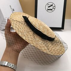 27220075 Vintage Hat Ascot Wide Brim Veil Straw Elegant Sun Royal Race Women  Headdress #VFSHats #WideBrim #weddingcocktailpartyrace