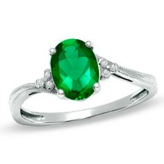 Oval Lab-Created Emerald Fashion Ring in 10K White Gold with Diamond Accents - Jewelry Rings - Gordon's Jewelers