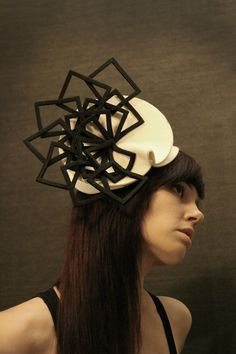 This woman makes the most fantastic hats. Cream Felt Hat with Black Felt Fan Accent Fractal by pookaqueen
