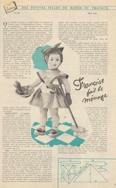 PAR AMOUR DES POUPEES :: M&T 1955-05 Françoise fait le ménage (couture)