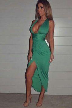 Cheap Sexy V Neck Tank Sleeveless Crossed Backless V-shape Split Asymmetrical Green Polyester Ankle on Luulla