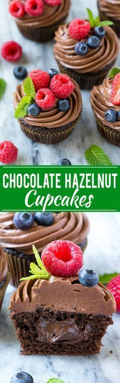 "Chocolate hazelnut cupcakes !!!! YUM!! Recipe makes 12 cupcaked. ""Chocolate cupcakes filled with milk chocolate hazelnut spread, then finished off with chocolate hazelnut frosting and fresh berries!!!"" #chocolate #cupcakes"