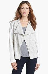 Two by Vince Camuto Faux Leather Sleeve Knit Moto Jacket (Regular & Petite) available at Nordstrom.