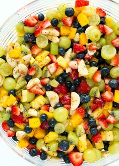 This Honey Lime Fruit Salad is AMAZING! It used a light and delicious honey lime poppy seed dressing and you can actually taste the fruit.