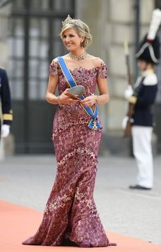 Queen Maxima attending Swedish wedding of Prince Carl Philip and Sofia on June 13, 2015.