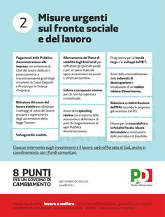 8 punti per un governo di cambiamento - Misure urgenti sul fronte sociale e del lavoro