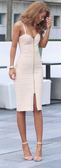 Kimmy Dress - My Bandage Dress   Nude Strappy Heels - Zara