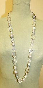 White House Black Market Gray & Silver Venetian Glass Necklace | eBay