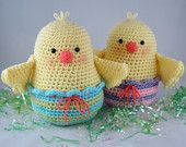 """Easter Chick Plush, Crochet Easter Plush, Stuffed Easter Toy, Easter Decor """"Ready to Ship"""" by CROriginals"""