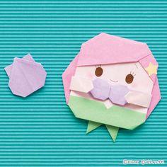 ディズニー「アリエル」の折り紙カード・メモの折り方|ぬくもり Origami Cards, Cute Origami, Origami Paper Art, Origami Easy, Paper Crafts For Kids, Diy For Kids, Fun Crafts, Diy And Crafts, Doll Cake Tutorial