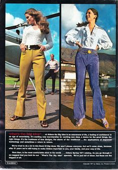 Has it really been over a year since we explored that wacky fashion craze of the the High Rise Pants? Weird Fashion, 70s Fashion, Vintage Fashion, Vintage Glamour, Vintage Ads, 70s Outfits, High Rise Pants, Vintage Wardrobe, Fashion Marketing