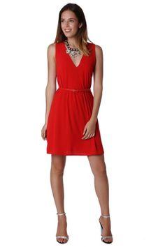 96c5de1dee6bcc Rode mini skater dress   Rode mini skater dress kort met riem detail. Jurk  gevoerd