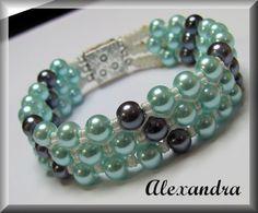 Triple Strung Pearl Macrame Bracelet - Magnetic clasp - Mint/Grey LX Micro Macrame, Macrame Bracelets, Mint, Pearls, Grey, Handmade, Jewelry, Peppermint, Jewellery Making