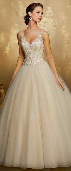 Stunning Tulle & Sequin Tulle V-neck Neckline Ball Gown Wedding Dress With Beaded Embroidery