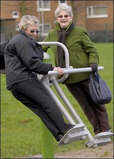 HOLD on tight — it's Britain's first playground for PENSIONERS.     Kids can only look on in envy at the park which boasts six special 'rides' strictly for OAPs that are meant to provide exercise as well as fun.     The equipment includes the massage (upper body exercise), the skate (leg muscles), the ski (hips), the press (stomach and legs) and two stations for standing push-ups and leg-pedalling.     The playground was paid for by housing association bosses in Blackley, Manchester.