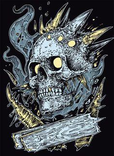 T-shirt designs & other stuff Summer on Behance Badass Skulls, Rock Poster, Death Art, Dark Art Illustrations, Skull Illustration, Horror Monsters, Skull Artwork, Skeleton Art, Colouring Pics