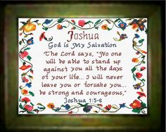 Joshua - Name Blessings Personalized Cross Stitch Design from Joyful Expressions Prayer For Family, Gifts For Family, Prayer Verses, Bible Verses, Top Baby Boy Names, Baby Dedication, Names With Meaning, Counted Cross Stitch Kits, Cross Stitch Designs