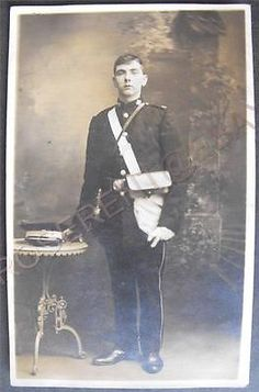 C1900s St John Ambulance Man in Uniform Padiham Maker Real Photo Postcard