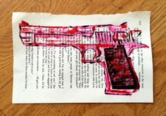 Love Gun Book Page Painting by ThatsHighlyOffensive on Etsy https://www.etsy.com/listing/229505916/love-gun-book-page-painting