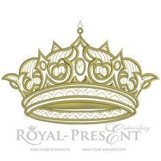Gold Royal Crown embroidery design - 3 sizes