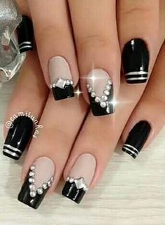 French Manicure Christmas Nails Silver 55 Ideas - New Ideas Manicure Colors, Nail Manicure, Nail Polish, Manicure Ideas, Cute Nails, Pretty Nails, Hair And Nails, My Nails, Gel Nail Designs