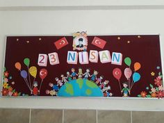 23 nisan Art Bulletin Boards, Diy And Crafts, Crafts For Kids, Preschool Art Activities, Second Wedding Anniversary, Puppet Crafts, World Crafts, Birthday Board, Child Day