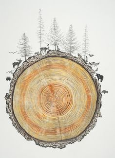 beautiful wood animal illustration