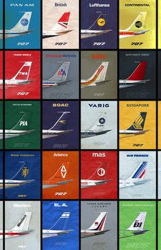 Airlines 707 Empennage Airliner Poster - 11 x 17 - Thumbnail 1 Treat yourself and your window Retro Airline, Airline Logo, Vintage Airline, Aviation Quotes, Aviation Art, Boeing 707, Passenger Aircraft, Air Festival, Commercial Aircraft