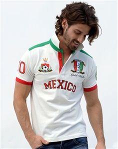 e038ccb1d Absolute Rebellion | Polo Shirt | Soccer Mexico White Polo T Shirts, Green  Stripes,