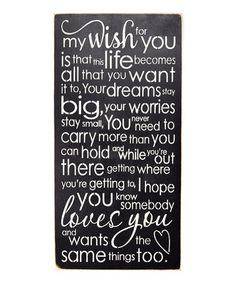 Another great find on #zulily! 'My Wish for You...' Wall Sign #zulilyfinds