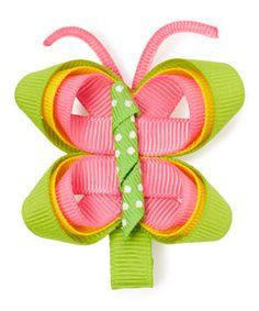 Look at this #zulilyfind! Pink & Green Butterfly Boutique Hair Clip #zulilyfinds