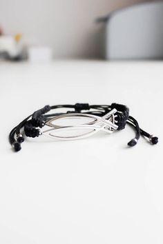 Couples set of macrame bracelets Christian fish bracelet Black his and her bracelet Friendship bracelet Matching couples bracelets by ElvishThings