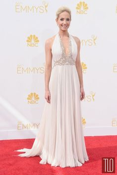 ab4d2df60be Joanne Froggatt Celebrity Dresses EMMYS White Halter Sleeveless Sweep Train  A Line Appliques Chiffon Cheap Evening Gowns