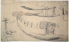 Рисование;  пять эскизам каноэ из Тробриандских островов, изображающие детали конструкции; каноэ  обратная сторона рисунка представляет собой эскиз с изображением интерьер соломенной крыши дома рыбака в Wawela.  1921-1924.  Графит.