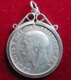 Vintage mounted 1936 George V shilling pendant medallion #10712