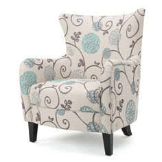 Arabella Club Chair - White/Blue Floral- Christopher Knight Home,