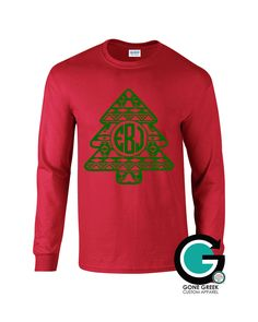 SALE! CUSTOM Aztec Monogram or Greek Letter (Sorority or Fraternity) Tree Printed Shirt -- Great for the Holiday's!! by GoneGreek on Etsy