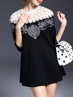 Lace Paneled Cotton-blend Mini Dress - Will wear as top with leggings/jeans.