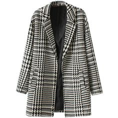 Choies Lapel Houndstooth Woven Tweed Coat (460 GTQ) ❤ liked on Polyvore featuring outerwear, coats, jackets, coats & jackets, casacos, multi, lapel coat, houndstooth coats, tweed wool coat and hounds tooth coat
