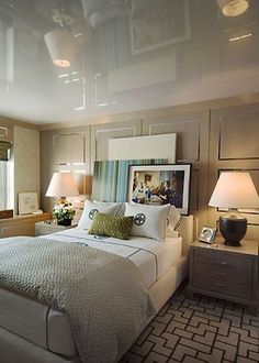 Ceiling; Bedding + rug/carpet. Great idea for a guest room.