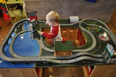 DIY train/ vehicles table. No turtorial. Awesome concept.
