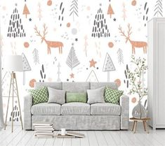 Custom wallpaper mural hand-painted children's room elk tree background wall living room bedroom children's room wallpaper Children Wallpaper, Cute Bedding, Geometric Wall, Holiday Lights, Custom Wallpaper, Sofa Covers, Art Wall Kids, Handmade Decorations, Living Room Bedroom