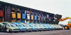 During the late General Motors was looking to reduce shipping cost on their Chevrolet Vega that had to be moved to dealerships across the country via rail roads and the vertical boxcar was their best solution. Chevrolet Vega, Chevrolet Corvette, General Motors, Toyota, Volkswagen, Automobile, Rail Car, Transporter, Us Cars