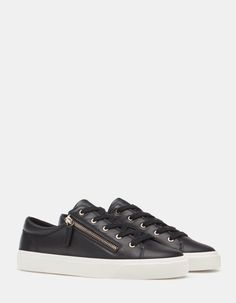 Stradivarius black sneakers with zipper.