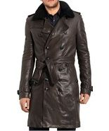 MEN BELTED LEATHER TRENCH COAT, MENS BROWN LEAT... - $239.99