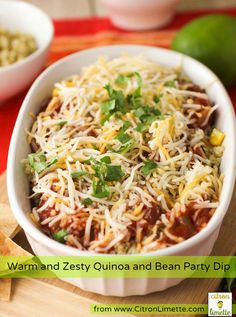 Warm and Zesty Quinoa and Bean Party Dip. Here's a delicious party dip with a healthy twist.